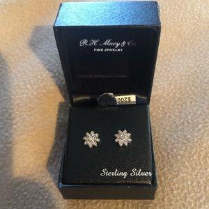 COPY - NWT Diamond Flower Stud Earrings - Sterlin…